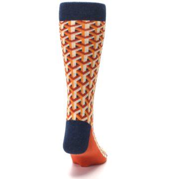 Image of Orange Navy Optical Y Men's Dress Socks (back-19)