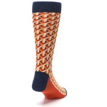Image of Orange Navy Optical Y Men's Dress Socks (side-1-back-20)