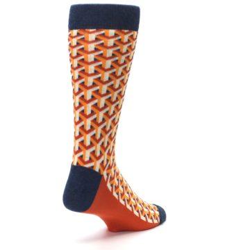 Image of Orange Navy Optical Y Men's Dress Socks (side-1-back-21)