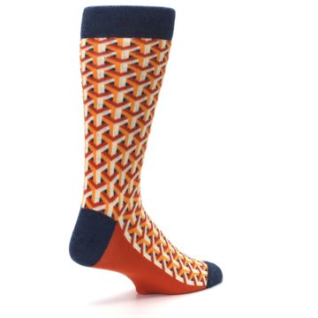 Image of Orange Navy Optical Y Men's Dress Socks (side-1-back-22)