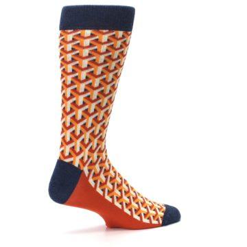 Image of Orange Navy Optical Y Men's Dress Socks (side-1-23)