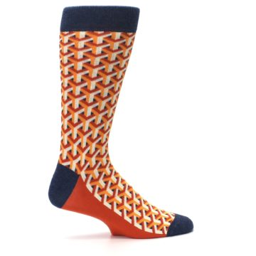Image of Orange Navy Optical Y Men's Dress Socks (side-1-24)
