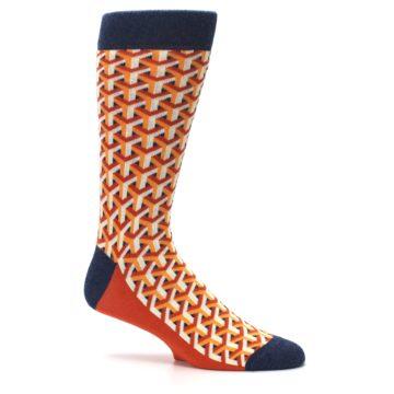 Image of Orange Navy Optical Y Men's Dress Socks (side-1-25)