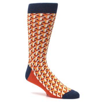 Image of Orange Navy Optical Y Men's Dress Socks (side-1-26)
