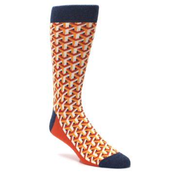 Image of Orange Navy Optical Y Men's Dress Socks (side-1-27)