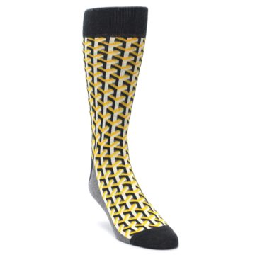 Yellow Gray Optical Y Statement Sockwear socks for Men