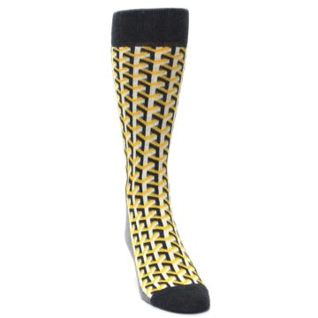 Image of Yellow Gray Optical Y Men's Dress Socks (side-1-front-03)