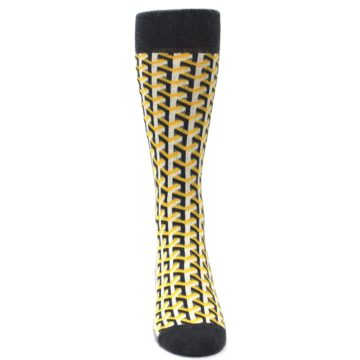 Image of Yellow Gray Optical Y Men's Dress Socks (front-04)