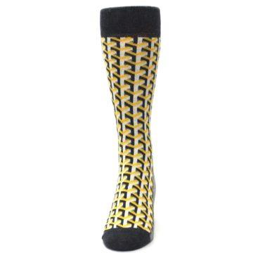 Image of Yellow Gray Optical Y Men's Dress Socks (front-05)