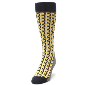 Image of Yellow Gray Optical Y Men's Dress Socks (side-2-front-06)