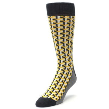 Image of Yellow Gray Optical Y Men's Dress Socks (side-2-front-07)
