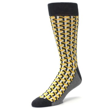 Image of Yellow Gray Optical Y Men's Dress Socks (side-2-front-08)