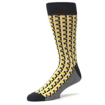 Image of Yellow Gray Optical Y Men's Dress Socks (side-2-09)