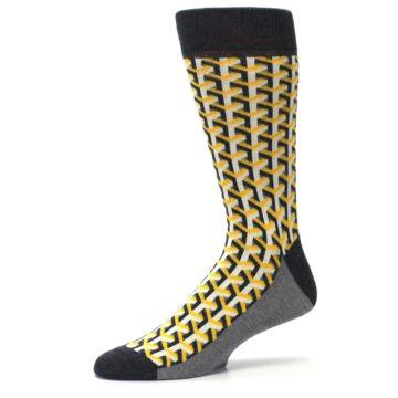 Image of Yellow Gray Optical Y Men's Dress Socks (side-2-10)