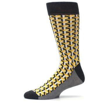 Image of Yellow Gray Optical Y Men's Dress Socks (side-2-11)