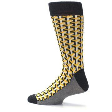 Image of Yellow Gray Optical Y Men's Dress Socks (side-2-13)