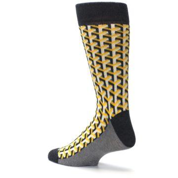 Image of Yellow Gray Optical Y Men's Dress Socks (side-2-back-14)