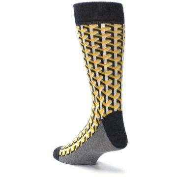 Image of Yellow Gray Optical Y Men's Dress Socks (side-2-back-15)