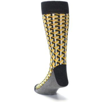 Image of Yellow Gray Optical Y Men's Dress Socks (side-2-back-16)