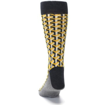 Image of Yellow Gray Optical Y Men's Dress Socks (back-17)