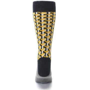 Image of Yellow Gray Optical Y Men's Dress Socks (back-18)