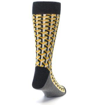 Image of Yellow Gray Optical Y Men's Dress Socks (side-1-back-20)