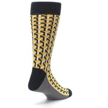 Image of Yellow Gray Optical Y Men's Dress Socks (side-1-back-21)