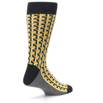 Image of Yellow Gray Optical Y Men's Dress Socks (side-1-back-22)