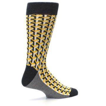 Image of Yellow Gray Optical Y Men's Dress Socks (side-1-23)
