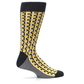 Image of Yellow Gray Optical Y Men's Dress Socks (side-1-24)