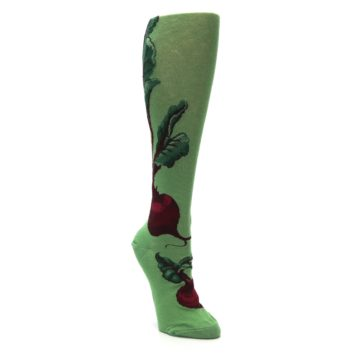 Image of Green Red Beets Women's Knee High Socks (side-1-front-02)