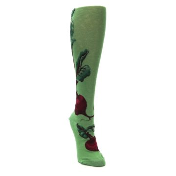 Image of Green Red Beets Women's Knee High Socks (side-1-front-03)