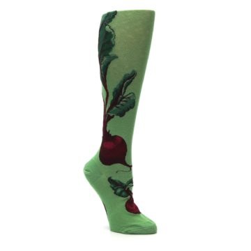 Image of Green Red Beets Women's Knee High Socks (side-1-27)