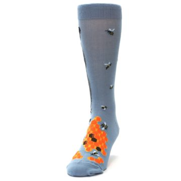 Image of Slate Blue Gray Honey Badger Men's Dress Socks (side-2-front-06)