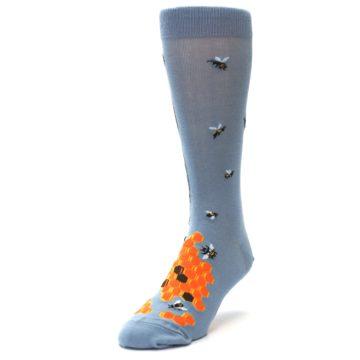 Image of Slate Blue Gray Honey Badger Men's Dress Socks (side-2-front-07)