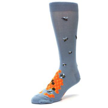 Image of Slate Blue Gray Honey Badger Men's Dress Socks (side-2-front-08)