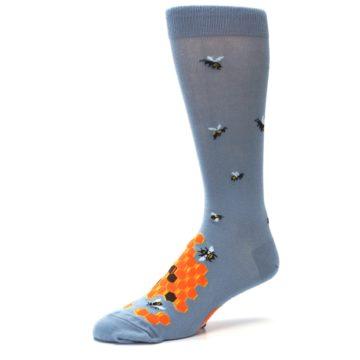 Image of Slate Blue Gray Honey Badger Men's Dress Socks (side-2-09)