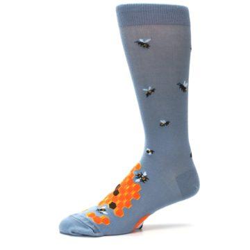 Image of Slate Blue Gray Honey Badger Men's Dress Socks (side-2-10)