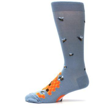 Image of Slate Blue Gray Honey Badger Men's Dress Socks (side-2-11)