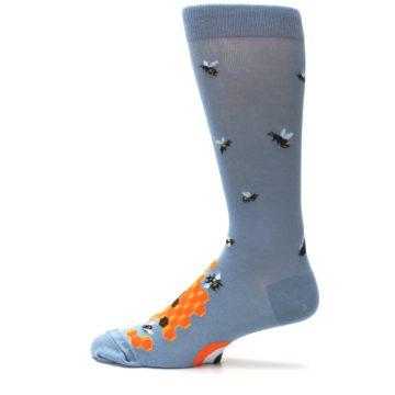 Image of Slate Blue Gray Honey Badger Men's Dress Socks (side-2-12)