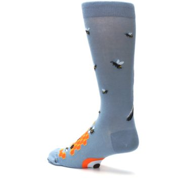 Image of Slate Blue Gray Honey Badger Men's Dress Socks (side-2-back-14)
