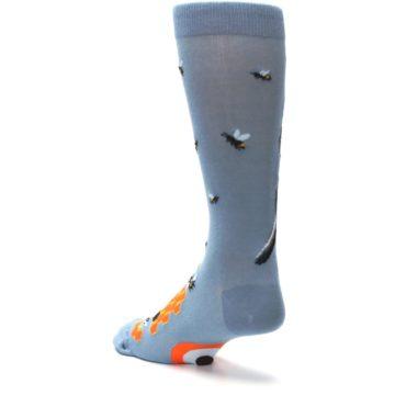 Image of Slate Blue Gray Honey Badger Men's Dress Socks (side-2-back-15)