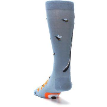 Image of Slate Blue Gray Honey Badger Men's Dress Socks (side-2-back-16)
