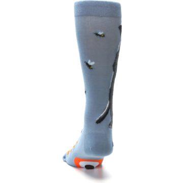 Image of Slate Blue Gray Honey Badger Men's Dress Socks (back-17)