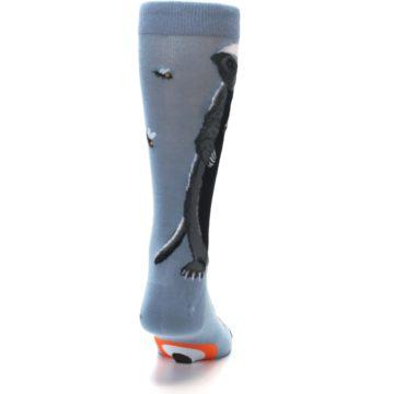 Image of Slate Blue Gray Honey Badger Men's Dress Socks (back-19)