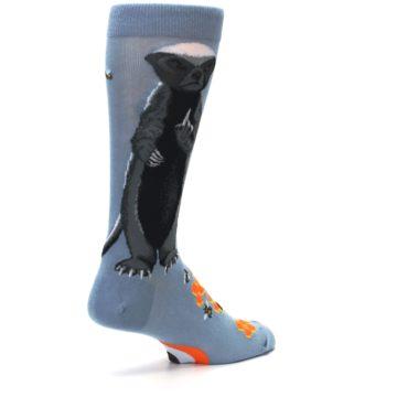 Image of Slate Blue Gray Honey Badger Men's Dress Socks (side-1-back-22)