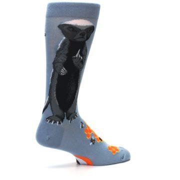 Image of Slate Blue Gray Honey Badger Men's Dress Socks (side-1-23)