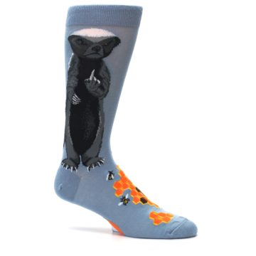Image of Slate Blue Gray Honey Badger Men's Dress Socks (side-1-25)