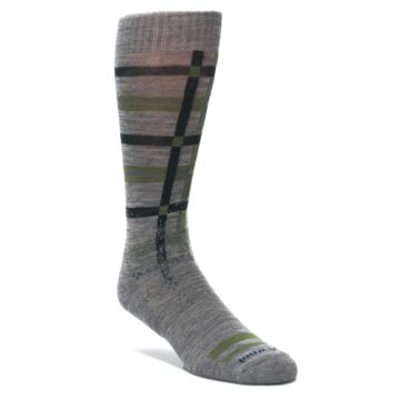 Image of Gray Green Huntley Plaid Wool Men's Casual Socks (side-1-front-01)