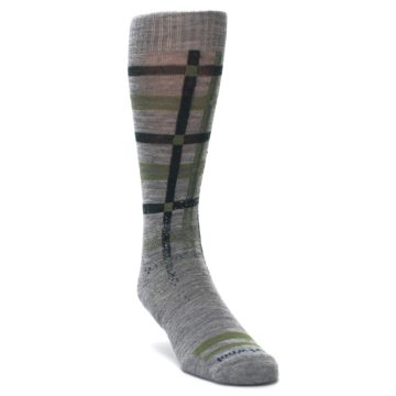 Image of Gray Green Huntley Plaid Wool Men's Casual Socks (side-1-front-02)